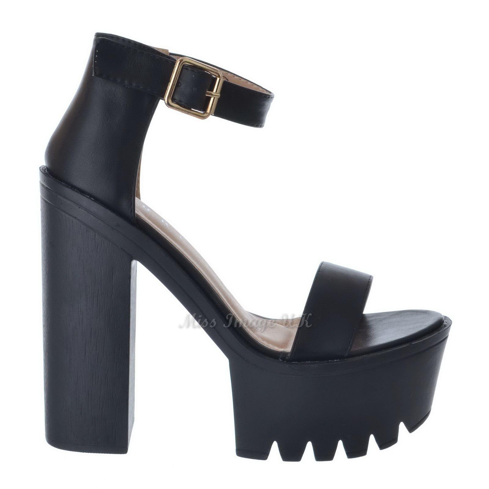 Black Chunky Strap Block Heel Sandals