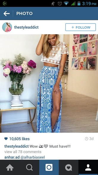 skirt tribal pattern shirt and