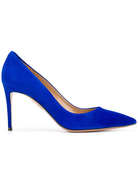 Aquazzura women pumps leather blue shoes