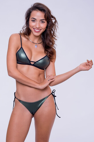 top bikini top green triangle