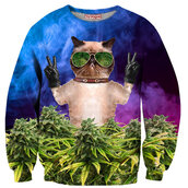 sweater,swag,crewneck,animal,cool,fashion,weed,dope,marijuana,grumpy cat,menswear,colorful,cats,girl,skater,grumpy cat sweater,hipster,hippie,peace sign,blue,tumblr,tumblr girl,tumblr clothes,tumblr sweater,alternative,gangsta,festival,fall sweater