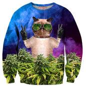 sweater,swag,crewneck,animal,cool,fashion,weed,dope,marijuana,grumpy cat,menswear,colorful,cats,girl,skater,grumpy cat sweater,hipster,hippie,peace sign,blue,tumblr,tumblr girl,tumblr clothes,tumblr sweater,alternative,gangsta,festival,fall sweater