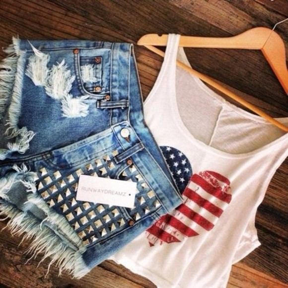 stud shorts denim tank top