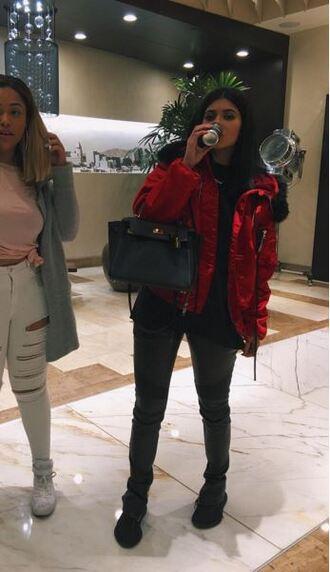 pants jacket instagram kylie jenner sneakers coat