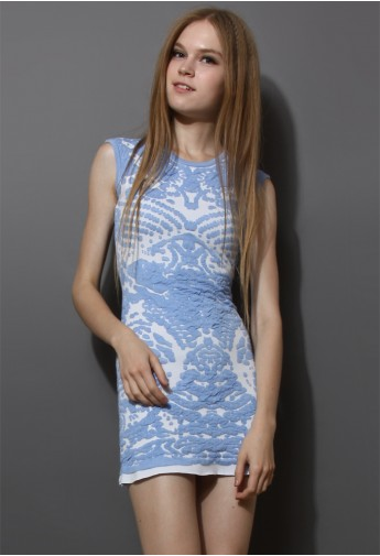 Blue embossment knited shift dress