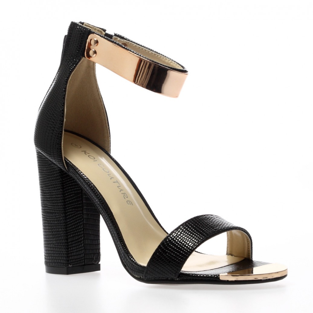 Alexia Black Ankle Cuff Sandals