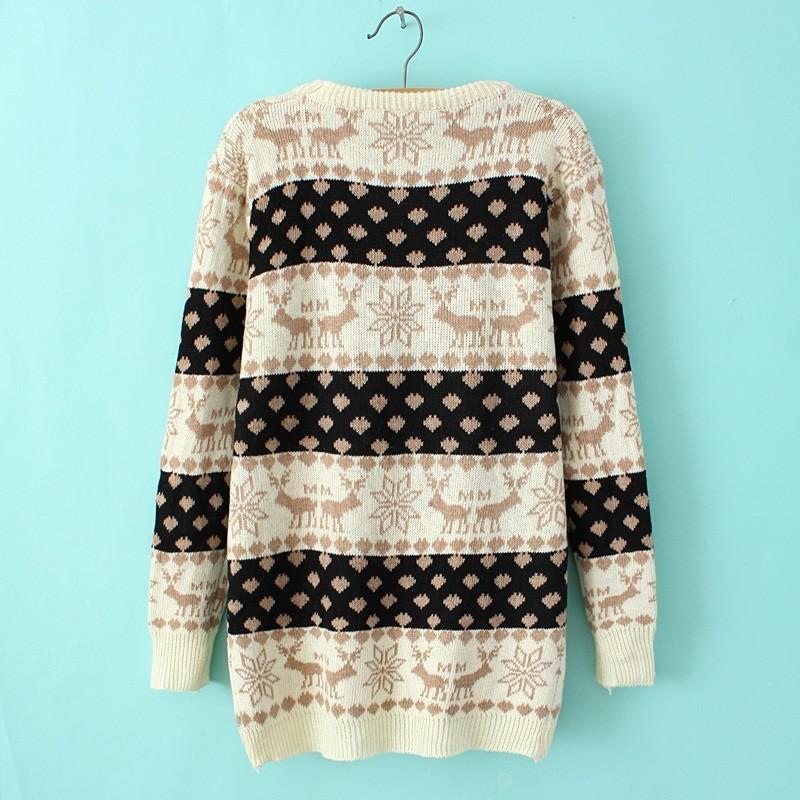 Beige Long Sleeve Deer Print Striped Sweater - Sheinside.com