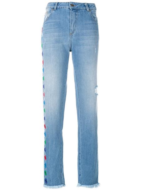 Each X Other - appliqué straight leg jeans - women - Cotton - 30, Blue, Cotton