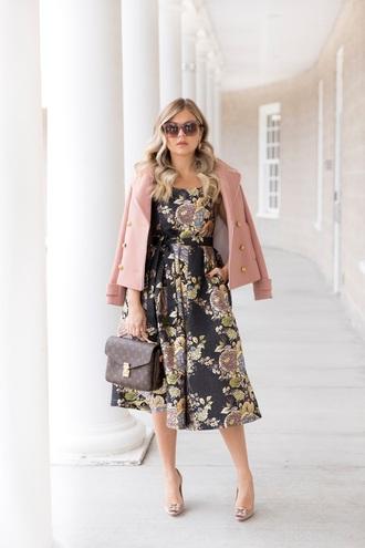 suburban faux-pas blogger coat dress sunglasses bag pink jacket louis vuitton bag midi dress spring outfits