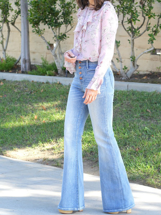 cost with me blogger top jeans shoes work outfits ruffle ruffle shirt pink shirt flare jeans blue jeans denim