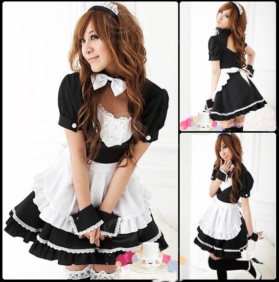 Alluring and Sweet Bowknot Embellished Neck Ruffle Hem Maid Costume For Women