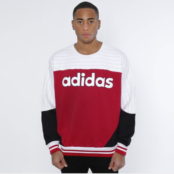 Sweater: adidas, red, black, white - Wheretoget