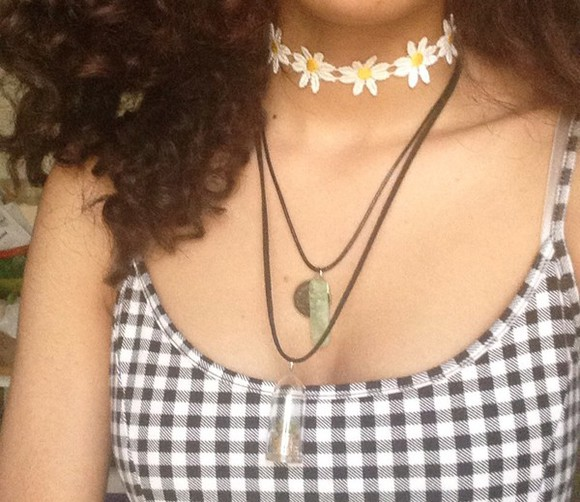 floral jewels daisy black dress necklace choker necklace white dress yes dear