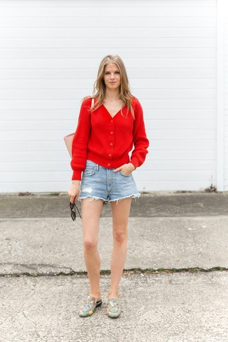 shoes gucci gucci mules mules floral shoes shorts cardigan red cardigan denim shorts