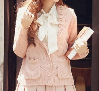 cardigan pink light pink kawaii cute lace pink lace knitted pink knitted blazer blazer japanese casual