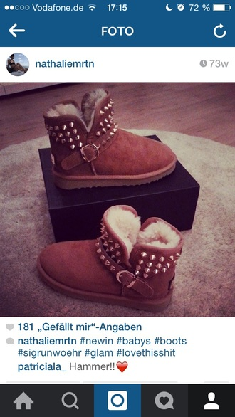 shoes boots ugg boots rivet gold shoes glamour