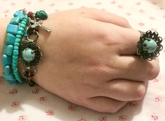 jewels turquoise vintage leather...bracelets and ring