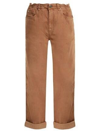 jeans boyfriend fit cotton camel