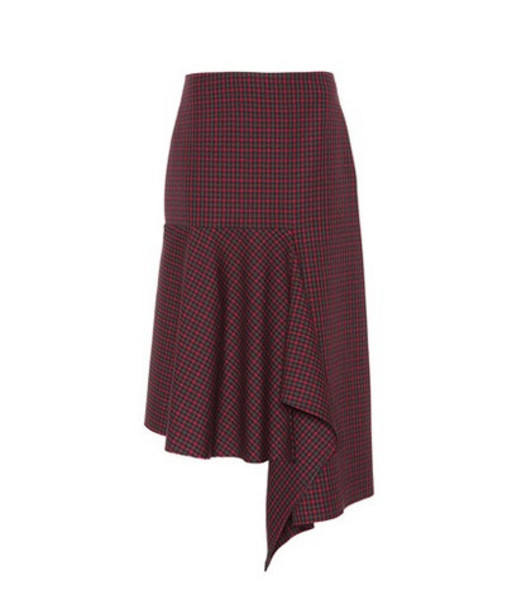 Balenciaga Checked wool midi skirt in red