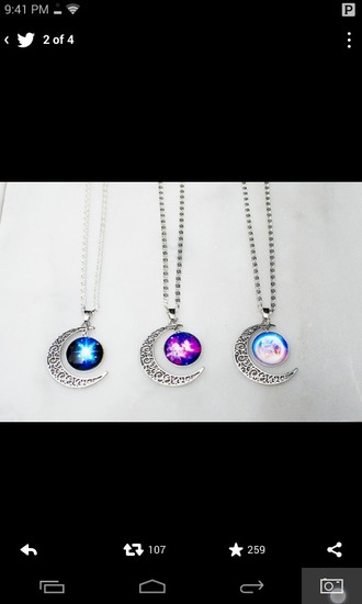 jewels necklace hipster jewelry boho jewelry galaxy print moon necklace galaxy moon