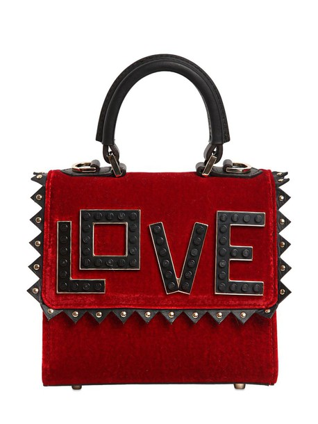 love bag leather bag leather velvet black red