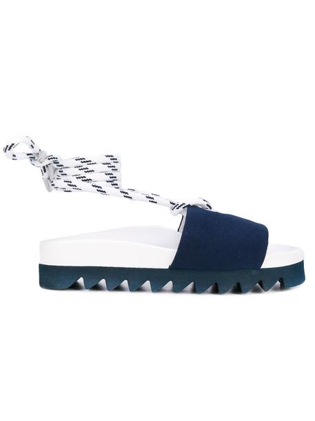 Joshua Sanders women sandals lace leather cotton blue shoes