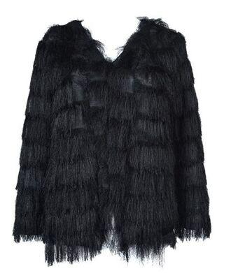 black coat www.ustrendy.com layered coat layered tassels tassel coat fuzzy coat