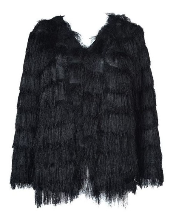 black coat layered coat layered tassels tassel coat fuzzy coat www.ustrendy.com