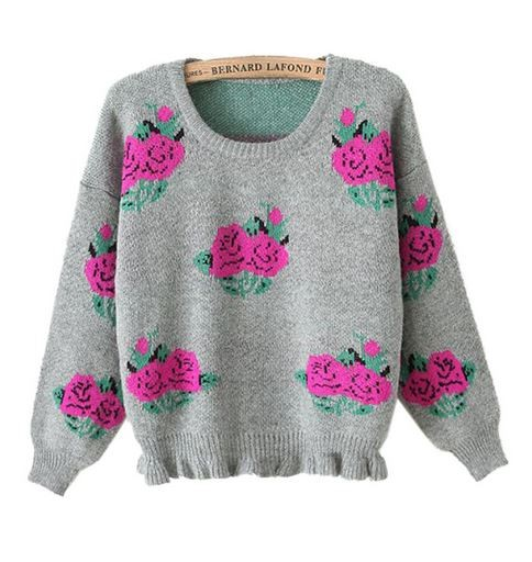 Gray Knit Peony Sweater with Ruffle Hem