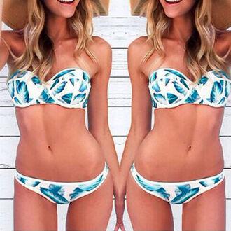 swimwear blue white sexy summer beach blonde hair
