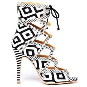 shoes black white heels lace up lace up heels black and white pattern
