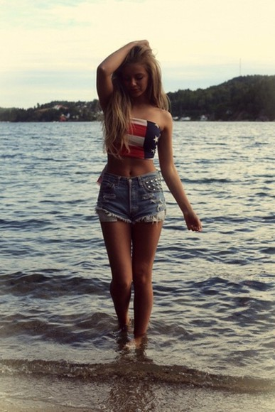 shirt american flag american flag crop top blouse
