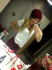 jewels,zara,dream,make-up,smile,pretty,beautiful,cute,hat,shirt,jeans,acacia brinley,burgundy,hipster,beanie