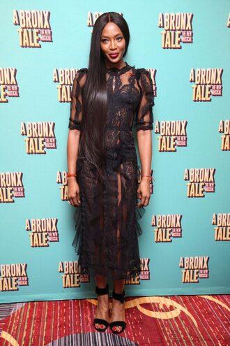 dress midi dress lace dress black dress sandals black lace dress naomi campbell see through dress