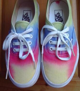 shoes vans tie dye custom fashion style indie hipster rainbow where do i get tie dye vans?!:))