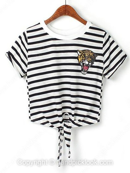 mariniere striped shirt top clothes tiger print
