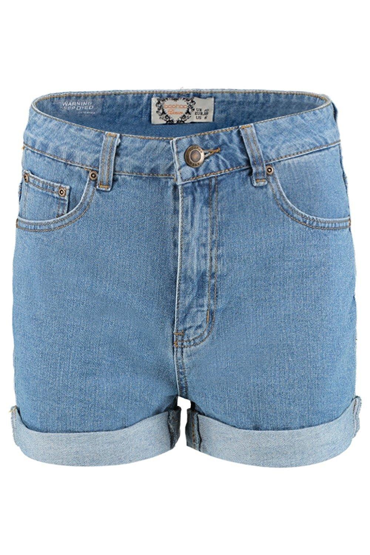 f8ea64eab398 Boohoo Womens Rosina High Rise Denim Mom Shorts at Amazon ...