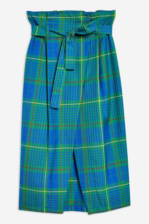 Bright Check Wrap Midi Skirt