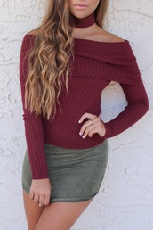 top,burgundy,burghundy,red,tight,ribbed,turtleneck,roll,shoulderless