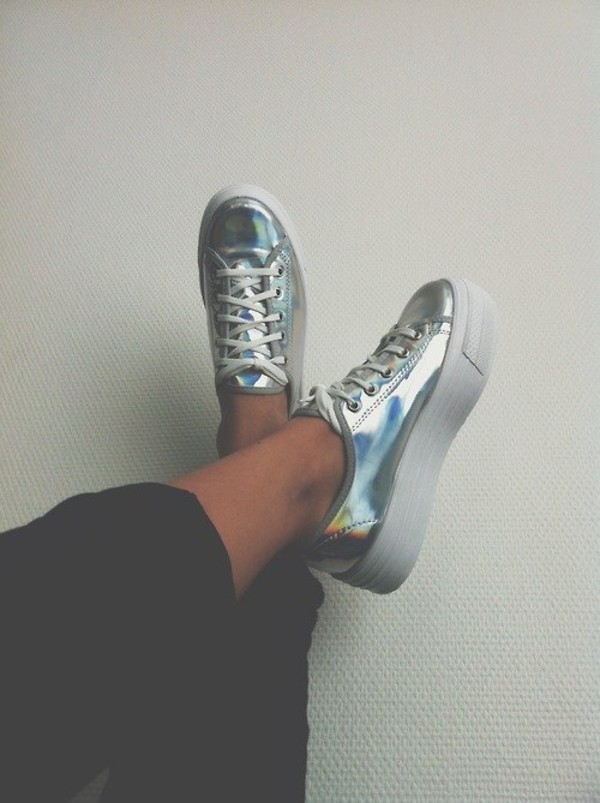 shoes platform shoes holographic holographic sneakers