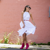 dress,tumblr,midi dress,white dress,halter neck,halter dress,boots,ankle boots,pink boots,belt,sunglasses