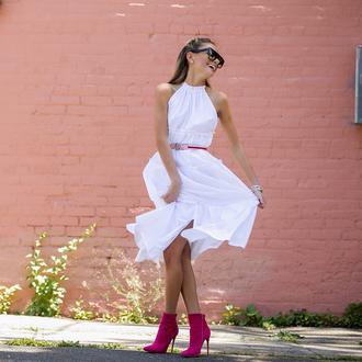 dress tumblr midi dress white dress halter neck halter dress boots ankle boots pink boots belt sunglasses