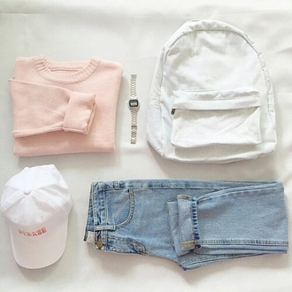 bag pastel pastel goth tumblr pale pale pastel pale goth tumblr aesthetic aesthetic sweater white backpack cap