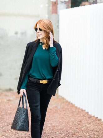 themiddlepage blogger top jeans jacket belt shoes chanel bag blazer tote bag green sweater