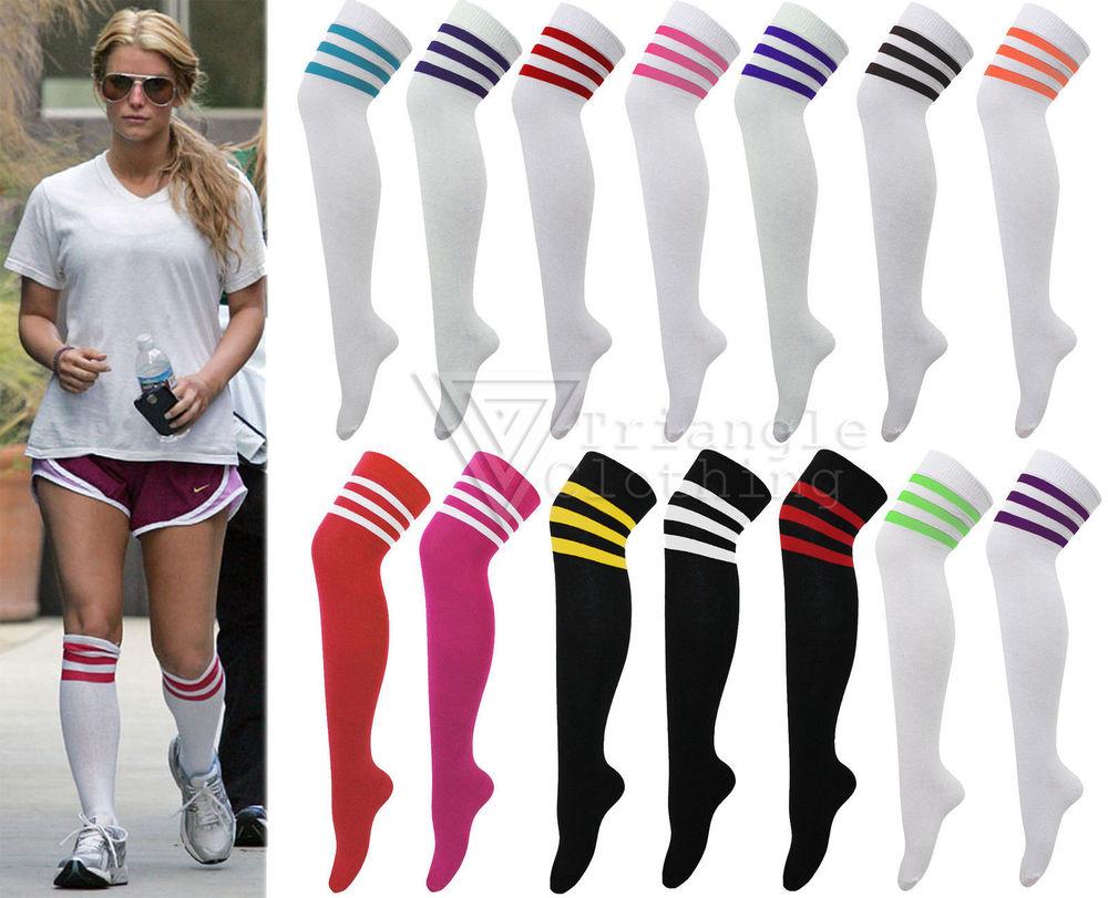 dccb1585c Ladies Womens Stripe Over Knee High Socks Sport Referee