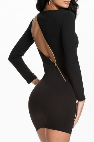 dress black dress black little black dress bodycon dress bodycon long sleeves zip backless backless dress classy night dress zaful date outfit nightwear gold zipper gold zipper dress long sleeve dress black long sleeve dress sexy dress clubwear club dress open back