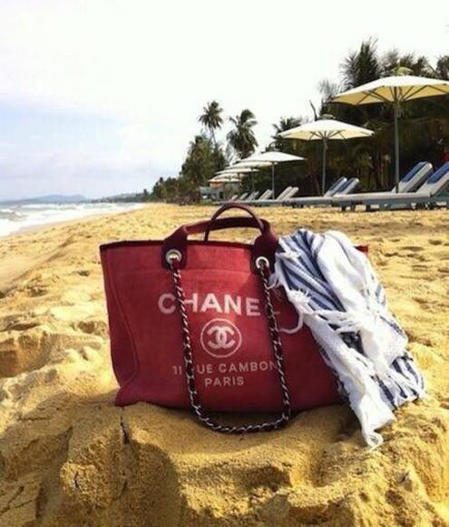 bag chanel red purse beach accessories fashion
