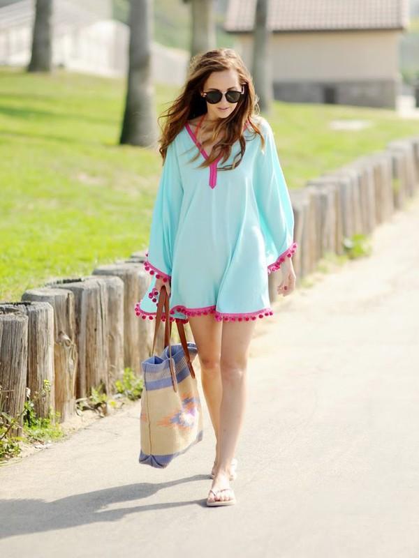 dress chiclook closet sunglasses summer pastel cover up casual streetwear boho style blue dress