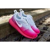 shoes,nike,pink,roshe runs,nike roshe run,roshes,nike roshes floral,pink nikes,trainers,running shoes,orange,pattern,girly shoes,pink ombre nike roshe runs,nike pink white shoes,nike running shoes,faded,white and pink,gradient,nike shoes,white,ombre