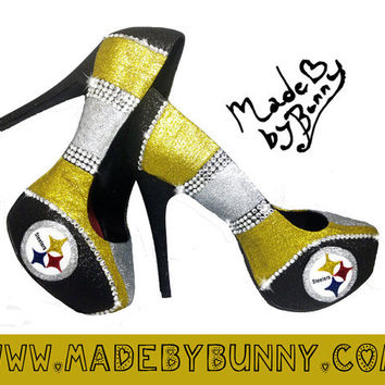 Pittsburgh Steelers Nfl Football Sexy Glitter Sports Heels With Crystal Rhinestones Custom